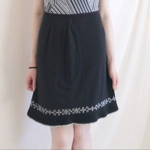 Ann Taylor Skirts - Black Pleated and Embroidered Skirt